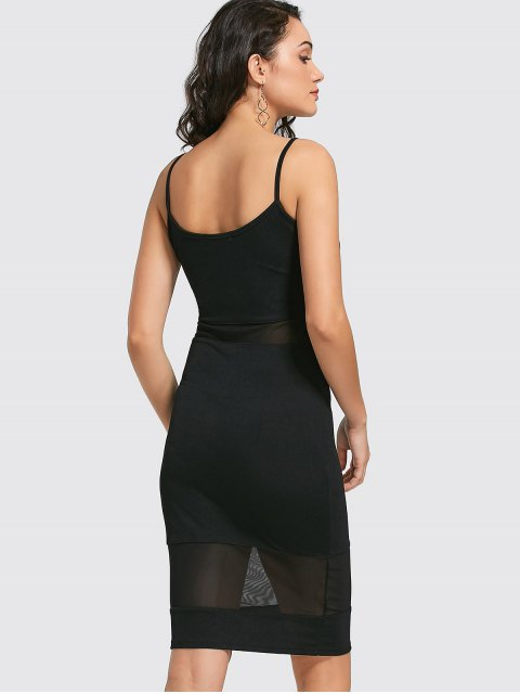 sale Mesh Panel Cami Sheath Dress - BLACK M Mobile