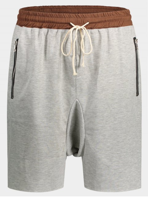 fancy Zip Pockets Jogger Terry Sweat Shorts - GRAY XL Mobile