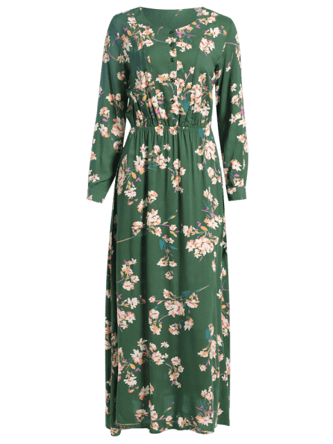 online Long Sleeve Buttons Tiny Floral Maxi Dress - GREEN XS Mobile