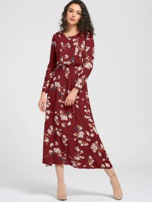 Long Sleeve Buttons Tiny Floral Maxi Dress - Wine Red S