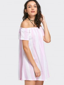 Off The Shoulder Striped Mini Dress - Pink S