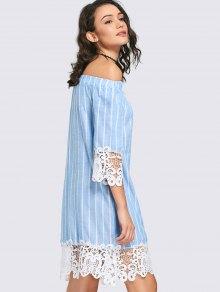 Lace Panel Striped Shift Dress - Light Blue Xl