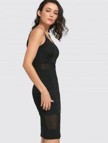 Malla De Paneles Cami Vestido Vaina - Negro Xl