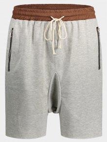 Zip Pockets Jogger Terry Sweat Shorts - Gray M