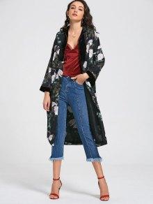 Kimono Crane Floral Duster Coat - Multicolor S