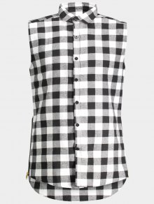 Checked Twill Mens Sleeveless Shirt - Gray M