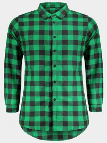 Mens Casual Checked Shirt - Green M
