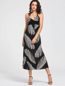 Smocked Panel Feather Halter Dress - Black