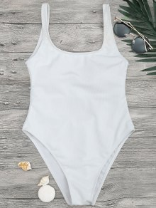 High Cut Textured Scoop One Piece Swimsuit - White M