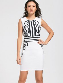 Sleeveless Bodycon Graphic Prom Dress - White 2xl