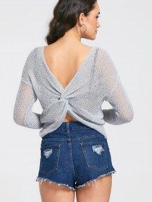 Long Sleeve Twist Sheer Knitwear - Gray