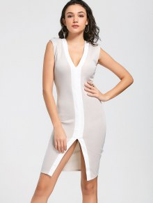Two Tone Slit Bodycon Prom Dress - Apricot M