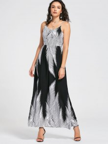 Smocked Back Tropical Maxi Dress - White And Black M