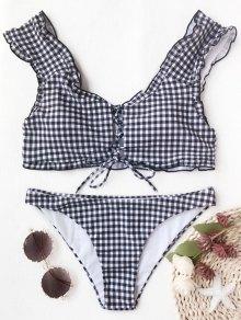 Gingham Lace Up Bralette Bikini Set - White And Black L