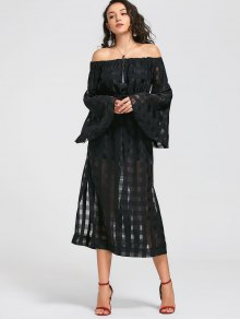 See Thru Off Shoulder Maxi Dress - Black L