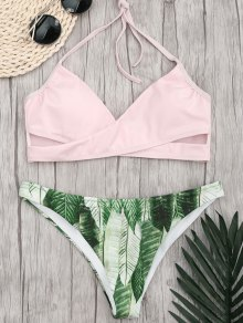 Halter Crossover Palm Leaf Bikini - Pink M