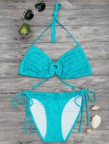 Padded Frilled Bandeau Bikini Set - Turquoise S