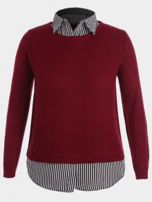 Pullover Stripe Plus Size Sweater - Red 4xl