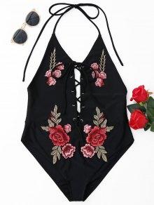 Floral Patch Halterneck One Piece Swimsuit - Black S