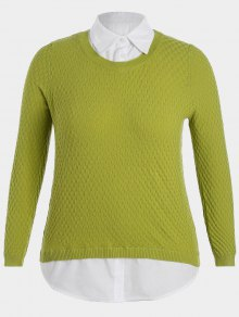 Plus Size Pullover Layered Look Sweater - Light Green 4xl