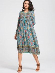 Long Sleeve Floral Tassels Midi Dress - Floral L