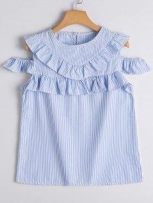 Cold Shoulder Ruffle Hem Striped Blouse - Blue Stripe Xl