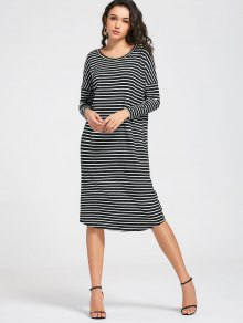 Stripes Long Sleeve Midi Casual Dress - Stripe M
