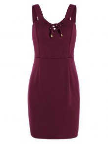 Lace Up Fitted Mini Dress - Deep Red L