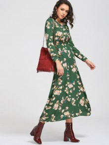 Long Sleeve Buttons Tiny Floral Maxi Dress - Green M
