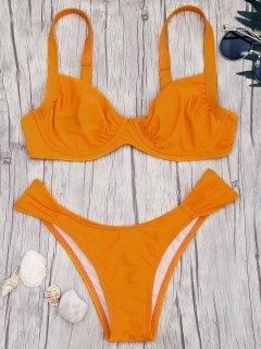 Push Up Underwire Bikini Set - Orange L