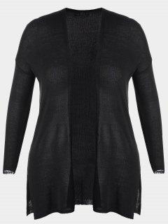 Open Front Plus Size Slit Cardigan - Black 3xl