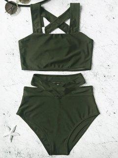 Caged High Waisted Bikini Set - Hunter Green L