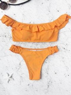 Padded Frilled Off The Shoulder Bikini Set - Orange M