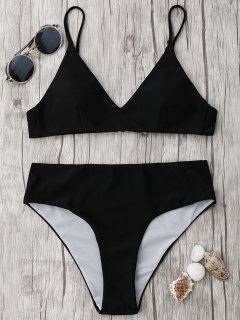 Spaghetti Strap High Waist Bikini Set - Black M