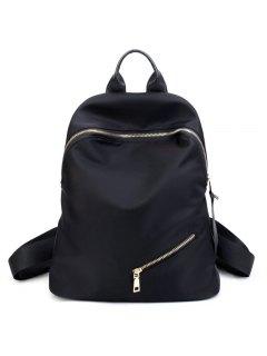 Top Handle Zips Nylon Backpack - Black