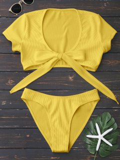 Knot Front High Cut Bathing Suit - Yellow S