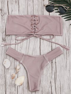 Bandeau Lace Up Bikini Set - Pink S