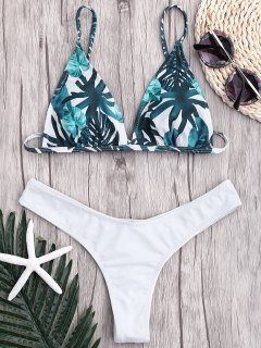 Leaf Print Thong Ruched Bikini - White S