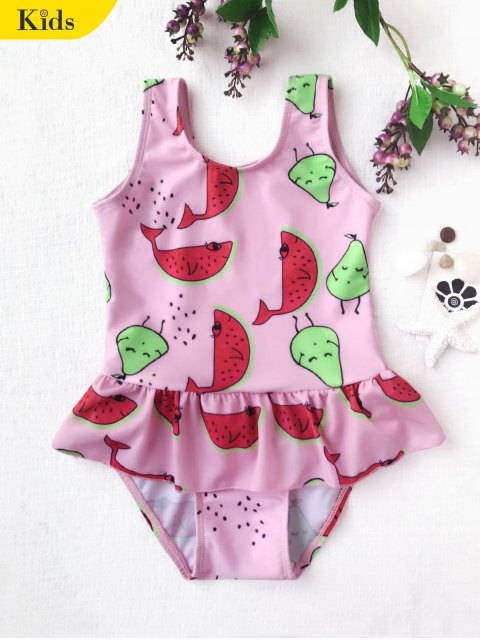 outfit Pear Watermelon Print One Piece Swimsuit - PINK 7T Mobile
