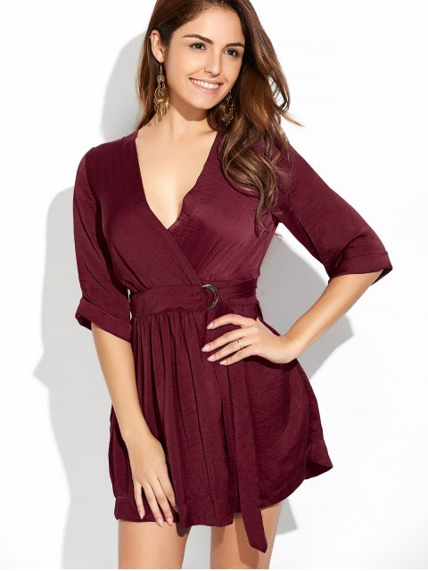 women's Wrap A-Line Dress - WINE RED S Mobile
