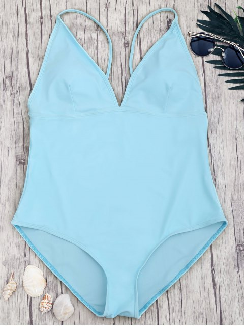 new Shaping Plus Size V Neck One Piece Swimsuit - BLUE 4XL Mobile