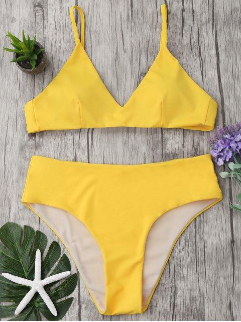 online Spaghetti Strap High Waist Bikini Set - YELLOW M Mobile
