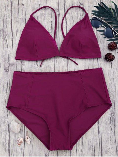 fashion High Waisted Plus Size Bikini Set - MERLOT XL Mobile