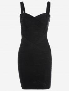 Sweetheart Neck Bodycon Bandage Dress - Black L