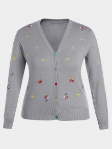 Plus Size Embroidered Knitwear - Gray Xl