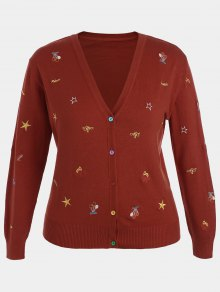Plus Size Embroidered Knitwear - Deep Red 4xl