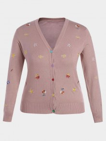 Plus Size Embroidered Knitwear - Pink 4xl