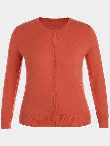 Plus Size Single Breasted Knitwear - Orange Xl
