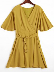 Flouncy Sleeve Belted Chiffon Dress - Yellow S