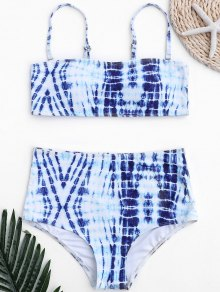 Tie-Dyed High Waisted Bathing Suit - Blue And White S